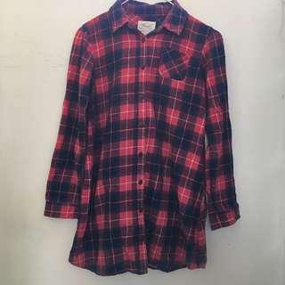 🚚 Lativ格紋長版襯衫