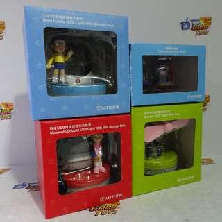180226-13** 中古已開封 MTR 港鐵 DORAEMON 多啦A夢 多啦美 大雄 靜香 風扇 手機座 燈座 電子時計 全4種