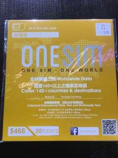 **速銷** One sim 30天歐洲無限數據卡