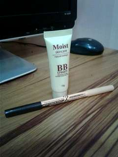 BB cream with eyebrow pencil and concealer