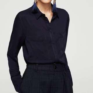 OshareGirl 03 歐美女士大口袋簡潔小方領純色條紋直筒型長袖襯衫上衣