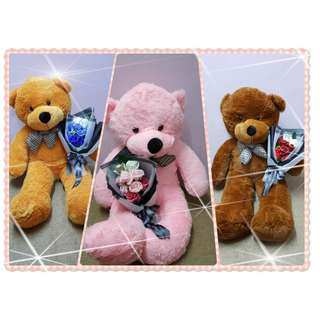 TCWK Special Romantic Package Teddy Bear With Rose Flower Ready Stock Sweet Moment