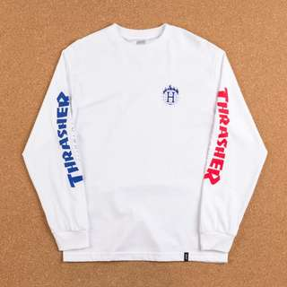 Thrasher X HUF worldwide TDS white long sleeve Limited