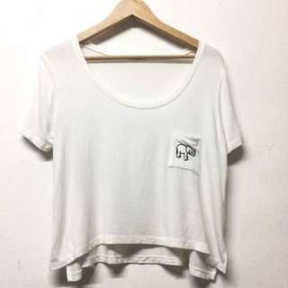 authentic brandy melville embroidered elephant pocket crop tee shirt top