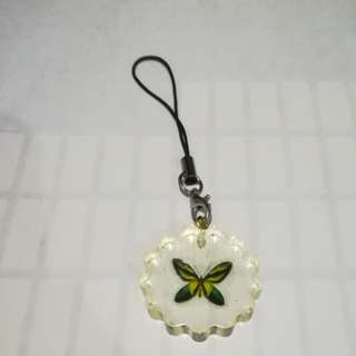 Yellow Green butterfly keychain