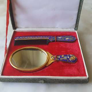 Vintage Cloisonne Mirror and Comb Set