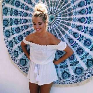 boho white off shoulder tassel romper