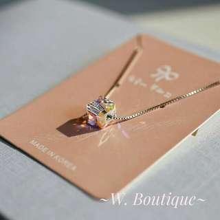 🌟《閃晶晶》韓國水晶 纯銀頸鏈 包郵 現貨