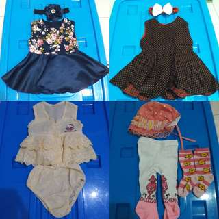 Dress anak, topi anak, legging