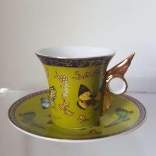 Butterfly Design Espresso Cup and Saucer