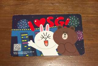 SG50 limited edition Cony and Brown ez-link card with $3+