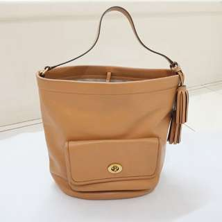 Coach Legacy Bucket Bag tan leather Preloved Authentic original