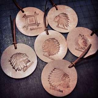 手工皮革製品-復古印第安圖騰書籤仔