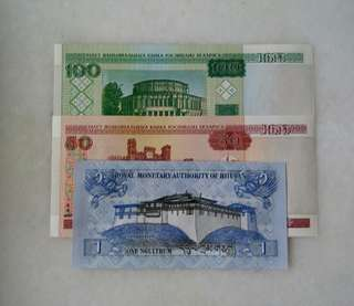 Free Post 3 pcs World Banknote UNC