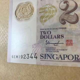 (Sales) Brand New Defect $2 note (smudge ink)