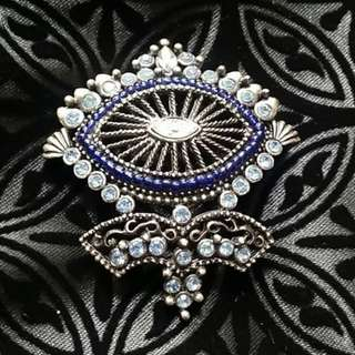 Vintage Blue Diamante Brooch 襟針 心口針