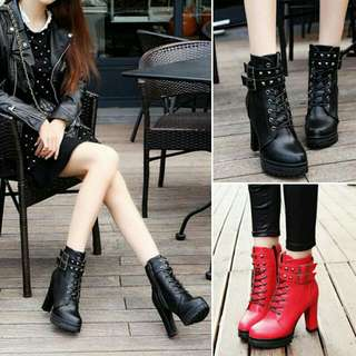 Combat Ankle Boots With Block Heels
