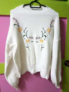 Embroidery florist sweater