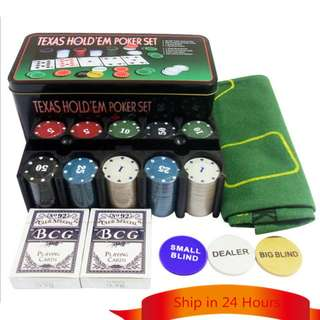 TEXAS HOLD'EM POKER SET WITH 200 CHIPS (METAL BOX)