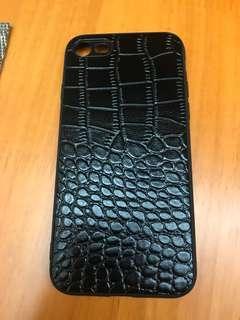 iPhone 7機殼,黑色鱷魚皮紋+保護貼
