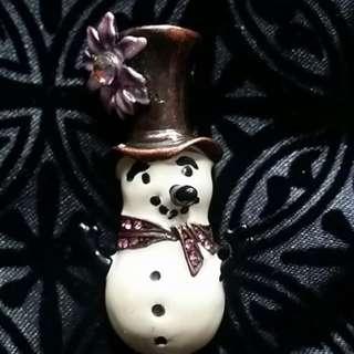 Stunning Diamate Snowman Brooch/ Pin