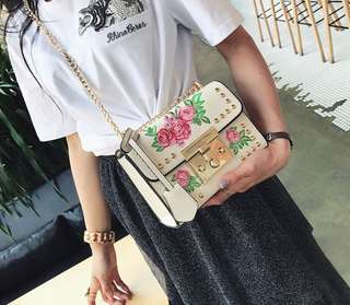 Embroidery Korean Leather Sling Bag