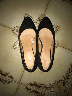 Black Cotton on formal wedges