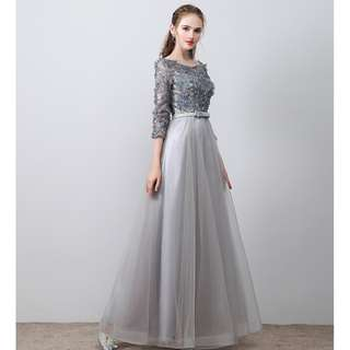 Wedding Bridal Black / Grey Long Sleeves Gown Dress