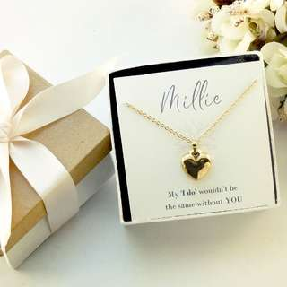Bridesmaid Proposal Gift _Heart Stainless Steel Necklace