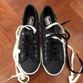 keds 黑色閃點布鞋