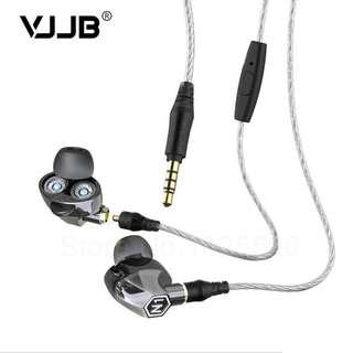 VJJB N1 雙動圈 物理降噪 耳機 (電鍍黑色),送藍芽線