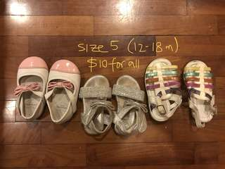 12-18 months bundle of shoes for baby girl