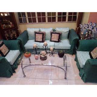 Sofa set with cover + Table + Pillows ALL IN