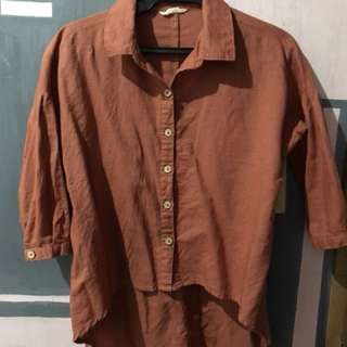 Rust button down blouse