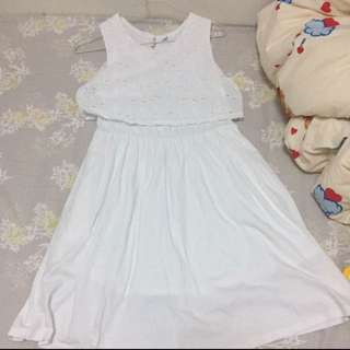 Uniqlo white one piece 白色連身裙 150