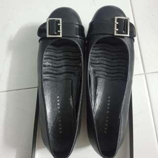Pedal works black wedge flats cushion sole