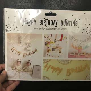 Happy Birthday bunting - Available in silver or gold