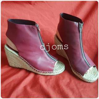 Sz 37 CELINE PARIS BURGUNDY ESPADRILLE WEDGE PEEP TOE SHOES