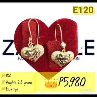 Dangling Heart Gold Earrings