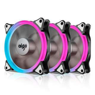 Aigo Aurora C3 Kit Case Fan 3-Pack RGB LED 120mm High Performance High Airflow Adjustable colorful PC CPU Computer Case Cooling Cooler with Controller -- 646