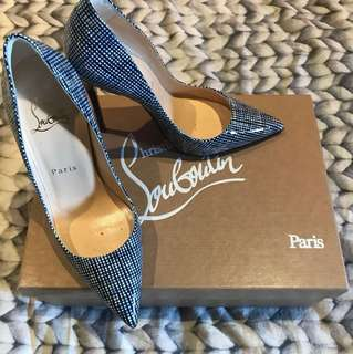 Christian Louboutin So Kate Patent Blue Stripped High Heels sz35