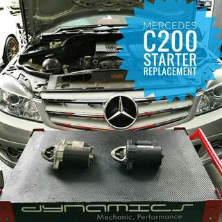Mercedes C180/200: Starter Replacement