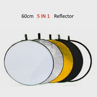 60 cm Round Photography Reflector 5 in 1 Collapsible Multi-Disc Light Reflecter Translucent Silver Gold White and Black
