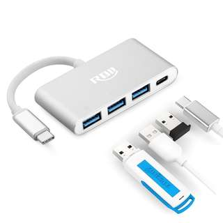 USB C HUB Multiport Adapter,RDII Type c Converter with Power Delivery for Charging,USB C to 3-Port USB 3.0 Hub and 1-Port UBS C charging port for MacBook ,ChromeBook Pixel,MateBook,Nintendo Switch -- 647