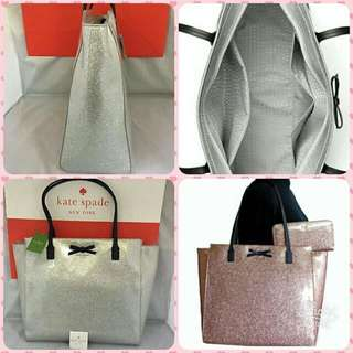 Kate Spade Mavis Street Silver Glitter Large Tote Bag