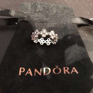 Pandora sliver crystal flower ring