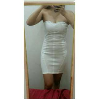 **FREE SHIPPING**Bershka White Cotton with Leatherette and Stretchable Dress