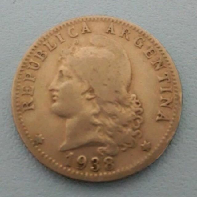 阿根廷1938年絕版人像20分硬幣錢幣