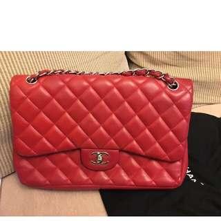Chanel lipstick red jumbo bag