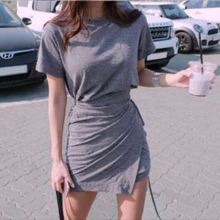 PO Round collar slim fit dress